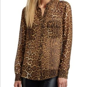 🐆BCBG CHIFFON LEOPARD BUTTON UP BLOUSE🐆